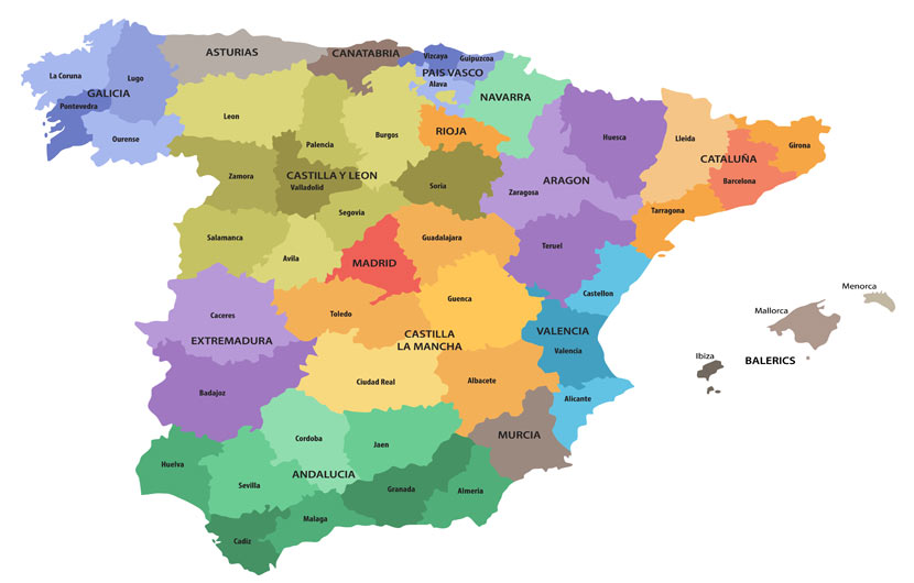 Holidays in Spain - Map of Autonomous Regions of Spain