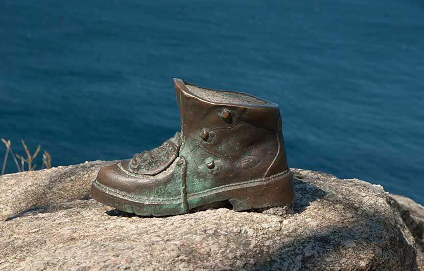 Camino de Santiago Walking Boot Sculpture